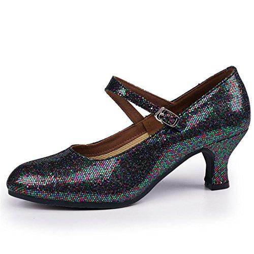BYLE Sandalias de Cuero Tobillo Modern Jazz Samba Zapatos de Baile Zapatos de Baile Latino Hembra Adulta con Fondo Blando Calzado Mujer Suela de Caucho 5.5CM Onecolor