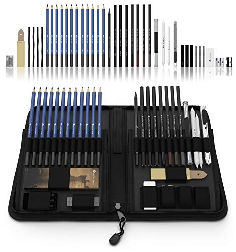 (Castle Art Supplies Graphite Drawing Pencils and Sketch Set (40-Piece Kit), Complete Artist Kit Includes Charcoals, Pastels and Zippered Carry Case, Includes Rare Pop-Up Stand)