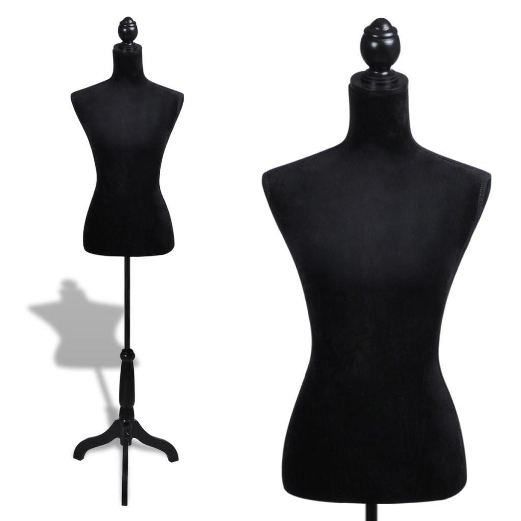 vidaXL Lady Mannequin Bust Window Torso Dress Form Display Black Model w/Tripod Stand