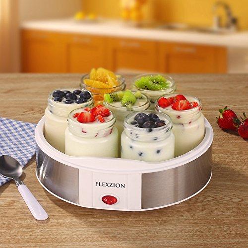 Flexzion Maker Machine with 7 Yogurt Containers Glass Jars - Automatic Electric Easy Yogurt Maker Machine