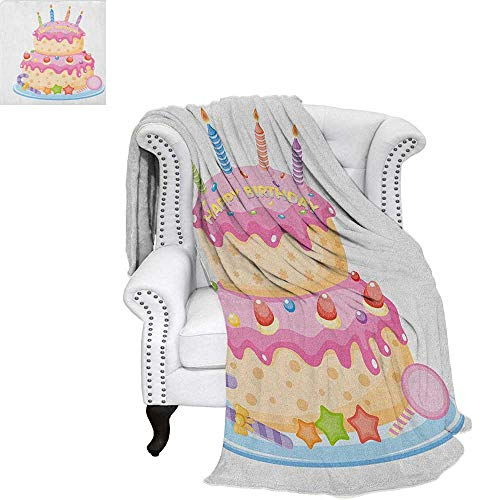 """Price comparison product image Kids BirthdayFlannel blanketPastel Colored Birthday Party Cake with Candles and Candies Celebration Imagecouch Blanket 60""""x36"""" Pale Pink"""
