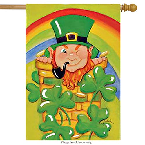 Toland Home Garden Shamrock Basket 28 x 40 Inch Decorative St Patrick's Day Leprechaun Rainbow Clover House Flag