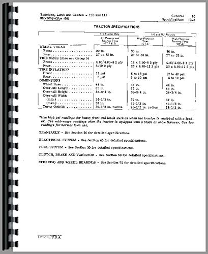 John Deere 112 Lawn and Garden Tractor Service Manual (SN# 0-100,000)