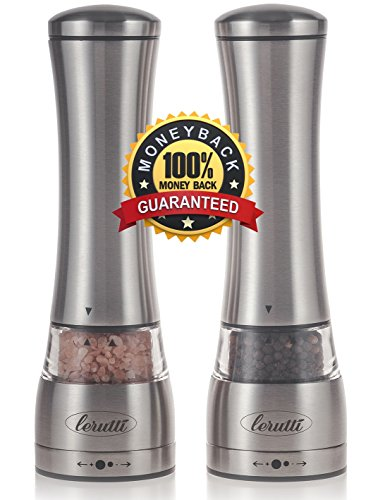 Lerutti Premium Stainless Steel Salt and Pepper Grinder Set With Adjustable Ceramic Rotor - Elegant Shakers - Deluxe Manual Salt Mill and Pepper Mill for Himalayan Salt, Pepper and Spices - Set of 2 (Big Pepper Grinder)