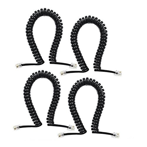 SHONCO 4 Pack 6Ft Modular Coiled Telephone Handset Cord (Black)