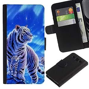 Billetera de Cuero Caso Titular de la tarjeta Carcasa Funda para Samsung Galaxy S3 III I9300 / Winter Snow Cub Tiger White Blue Nature / STRONG