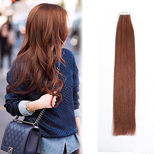 "Beauty : Sassina 8A Grade Virgin Brazilian Tape in Hair Extension Vibrant Auburn Cooper Red Brown Double Side PU Skin Weft 20Pcs 50g/set (33# 18"")"