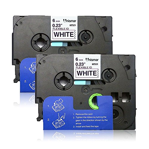 Brother Flexible Id Laminated Tape - Unismar 2 Pack TZe-Fx211 Compatible for Brother P-Touch TZe-Fx211 TZe Fx211 TZeFx211 Flexible ID Wire Cable Laminated Label Tape for GL100 Label Maker, 1/4
