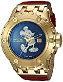 Invicta Men's 'Disney Limited Edition' Automatic Stainless Steel and Leather Casual Watch, Color:Red (Model: 23458)