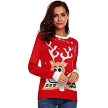 SummerRio Women's Ugly Christmas Sweater Long Sleeve Crewneck Reindeer Knitted Pullover