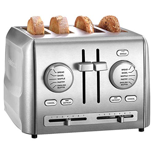 Cuisinart Custom Select 4-Slice Toaster Adjustable Toasting Slots with Dual Control Panels, 7 Browning Levels And Custom Defrost Feature