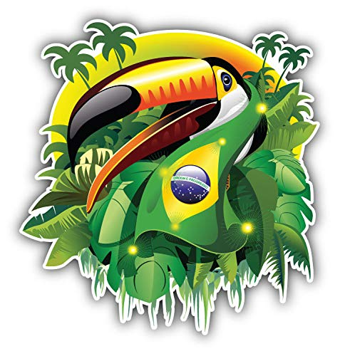 (JJH Inc Toco Toucan Brazil Flag Vinyl Decal Sticker Waterproof Car Decal Bumper Sticker 5