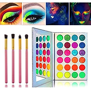 Best Epic Trends 51slmSFzi8L._SS300_ Glow in the dark paint, Kalolary Neon Eyeshadow Glow Palette UV Glow Blacklight Matte and Glitter, 24 Colors Highly…