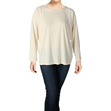 3e452ae2b3a2d5 Lauren Ralph Lauren Plus Size Stretch Cotton Boatneck Top - Off-White -   Amazon.co.uk  Clothing