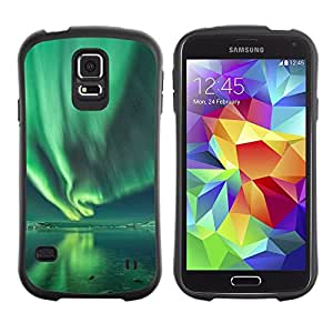 Suave TPU Caso Carcasa de Caucho Funda para Samsung Galaxy S5 SM-G900 / Aurora Borealis Water Reflection Green / STRONG