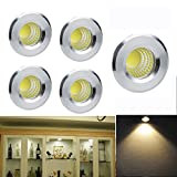 Elitlife 5 Pack 3W 300 Lumens Mini COB Recessed Ceiling Downlight Kit Warm White 2800-3000K - Silver Aluminum Light Cover & PC Mirror With LED Driver- for Recessed Light, Track Light Cabinet & More