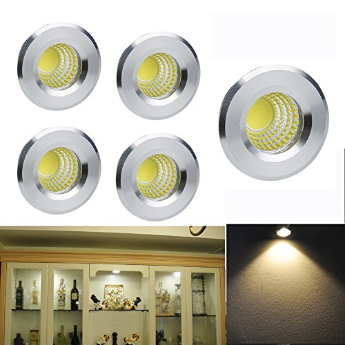 elitlife 5 pack 3w 300 lumens mini cob recessed ceiling downlight kit warm white 28003000k rose gold aluminum light cover u0026 pc mirror with led driver