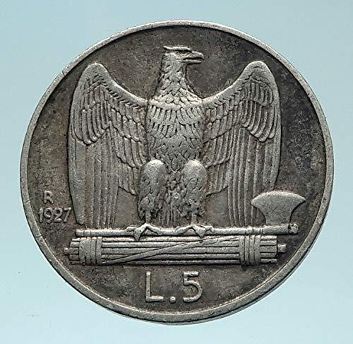 Italia Wings (1927 IT 1927 ITALY King Victor Emmanuel III AR 5 Lire Ita coin Good Uncertified)
