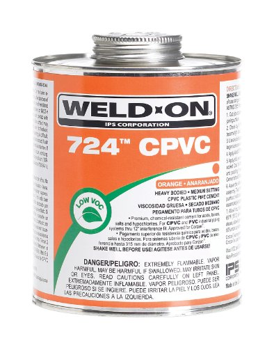 Weld-On 724 CPVC Professional Industrial-Grade, Heavy-Bodied, Medium-Setting, Low-VOC, 1 Pint Can with Applicator Cap, Orange
