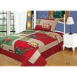 LELVA Red Construction Vehicles Bedspreads Set Children's Quilt Sets Kids Bedding Boys Coverlets Set Twin Size 2 Pc