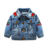 BOBORA Baby Girls Denim Jackets Childen Flower Embroidery Fashion Ripped Jeans Coat Kids Casual Jacket for 1-5Years