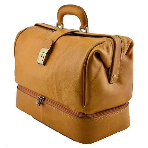 Borsa Per Dottore In Vera Pelle, Doppio Fondo Colore Senape - Pelletteria Toscana Made In Italy - Business