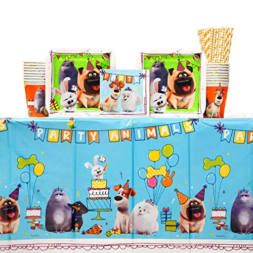The Secret Life Of Pets 2Birthday Party Supplies Pack for 16 Guests   24 Paper Straws, Paper Cups, Paper Dessert Plates, Paper Beverage Napkins, and Plastic Table Cover   Kid's Birthday Party Supplies