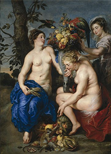 The Polyster Canvas Of Oil Painting 'Rubens Peter Paul Snyders Frans Ninfas Con El Cuerno De La Abundancia Ca. 1620 ' ,size: 20 X 28 Inch / 51 X 70 Cm ,this Imitations Art DecorativePrints On Canvas Is Fit For Bar Decoration And Home Artwork And Gifts
