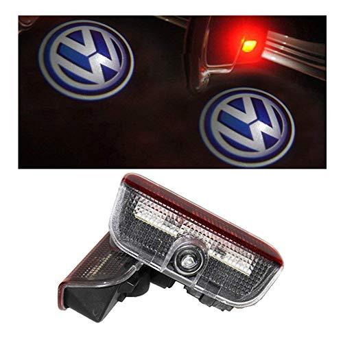 Aukur 2PCS Logo Projector Door Light Car Ghost LED Courtesy Shadow Projector For Volkswagen VW Touareg Tiguan Magotan Golf Eos CC Sharan Sagitar Passat (Passat Projector)