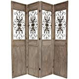 Oriental Furniture 7 ft. Tall Railing Scrolls Room Divider