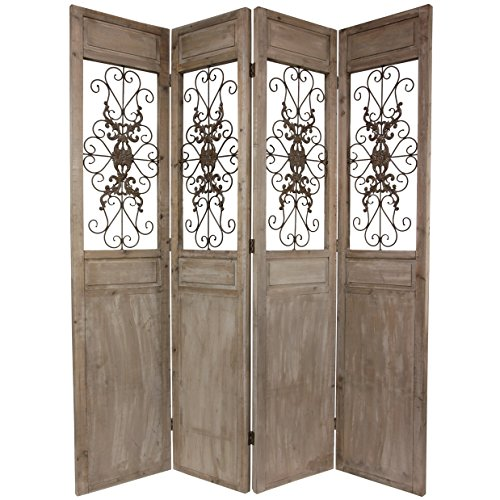 - Oriental Furniture 7 ft. Tall Railing Scrolls Room Divider