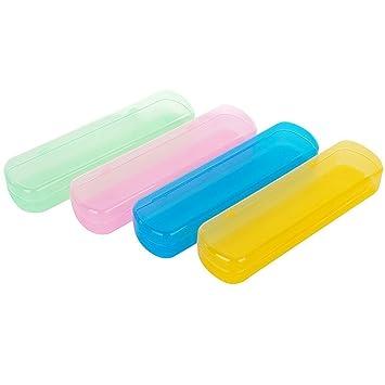 Ericotry - Estuche de plástico para cepillos de Dientes, 4 Unidades, portátil, a Prueba de Polvo, para Uso Diario y de Viaje, Color al Azar: Amazon.es: ...