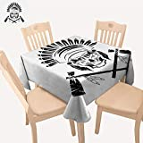 UHOO2018 100% Polyester Tablecloth Native Ameri Chief Skull in Tribal Headdress tomahawks Square/Rectangle Multicolor,52x 53 inch