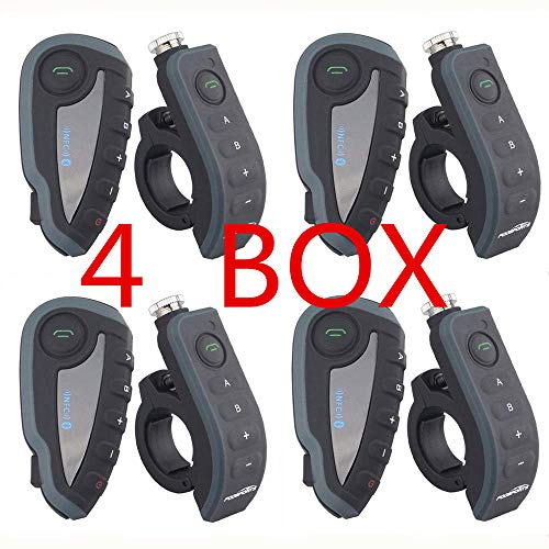 4 pc V8 1200 Motorcycle Helmet walkie-Talkie Bluetooth Headset Motorcycle BT walkie-Talkie simultaneous Connection high Fidelity FM Stereo Bluetooth MP3 NFC Remote Control Smartphone Support