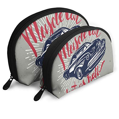 Shell Shape Makeup Bag Set Portable Purse Travel Cosmetic Pouch,Hot As Hell Muscle Car Quote Classic Vintage Sports Car In Navy Blue,Women Toiletry ()