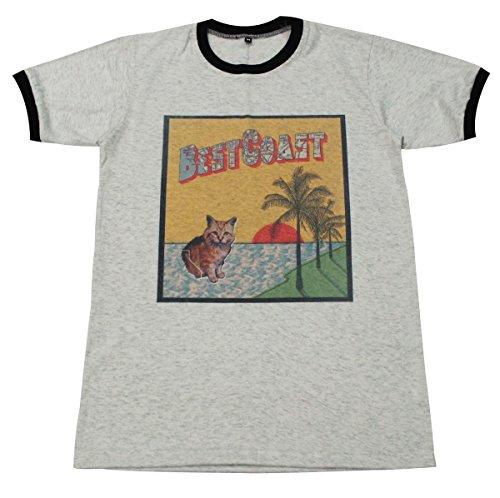 [Best Coast cat indie punk rock band music T-Shirt / GV116.4 size M] (Mens Disco Jumpsuit)