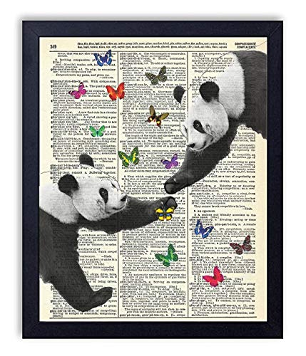 Panda Love With Butterflies Vintage Wall Art Upcycled Dictionary Art Print Poster 8x10 inches, -