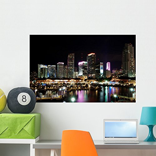 Skyline Downtown Miami Night Wall Mural by Wallmonkeys Peel and Stick Graphic (36 in W x 23 in H) - Bayside Miami