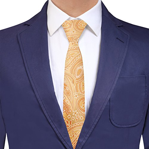 YAEB0021 Light Yellow Gold Paisley Gift Idea For Groomsmen Woven Jacquard Silk Tie Romance For Work-Utility Skinny Tie By Y&G