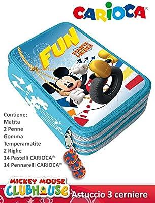 Estuche de 3 Cremalleras, diseño de Mickey ast2213: Amazon.es: Oficina y papelería