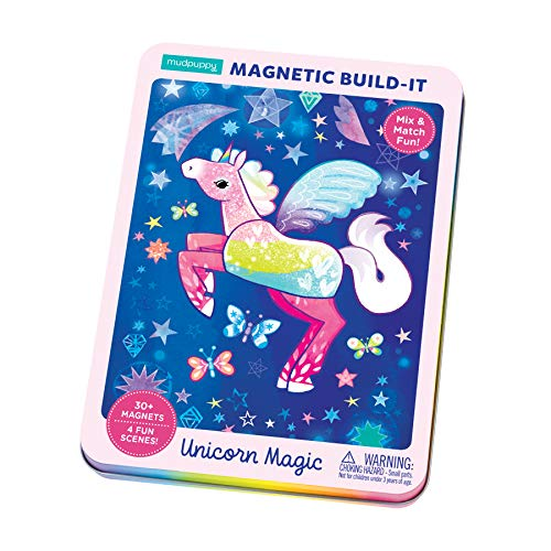 Mudpuppy Unicorn Magic Magnetic Build-It - Ages 4+ - Magnetic Play Set with 4 Backgrounds, 30+ Magnets - Build Fantastical Unicorn Scenes - Great for Travel, Quiet Time - Magnets Adhere to Tin Package