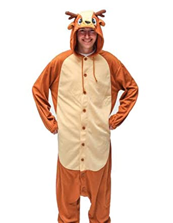 Onesie - Reindeer - Adult Animal Costume Pajamas - Large/X-Large by FunNFurry