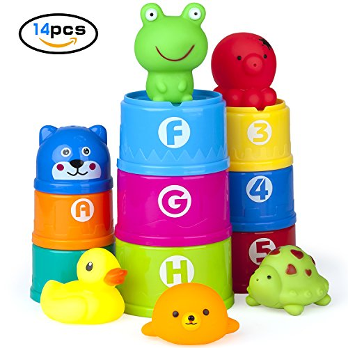 Vstarner Stacking Cups Baby Toys Early Educational Toddler Toys Baby Bath Toys & Rubber Animals BPA Free Recommended Baby for 0 1 2 3 4-5 year old Boys and Girls .(14 Pcs)