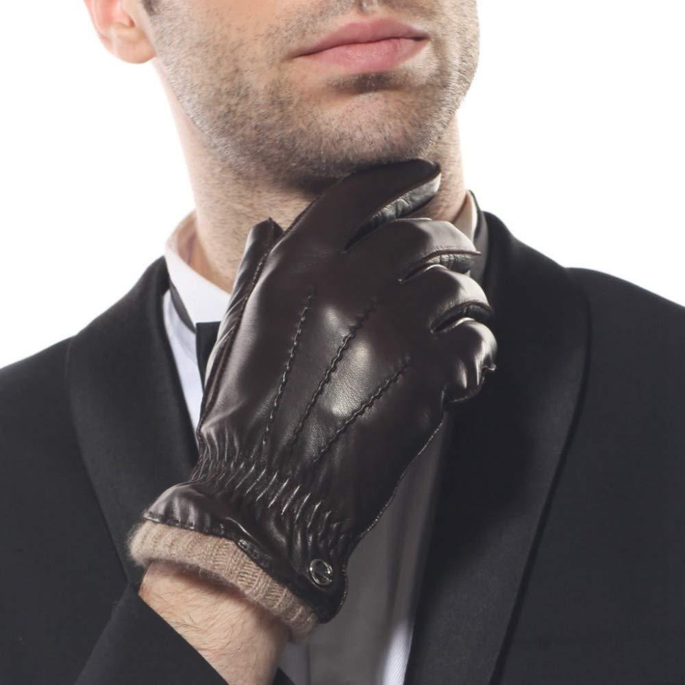 MAFYU ELMA Mens Leather Winter Gloves Super Warm Cashmere Lining Elasticated Cuff