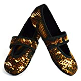 Nufoot Betsy Lou Women's Shoes, Best Foldable & Flexible Flats, Slipper Socks, Travel Slippers & Exercise Shoes, Dance Shoes, Yoga Socks, House Shoes, Indoor Slippers, Gold Snake, Large