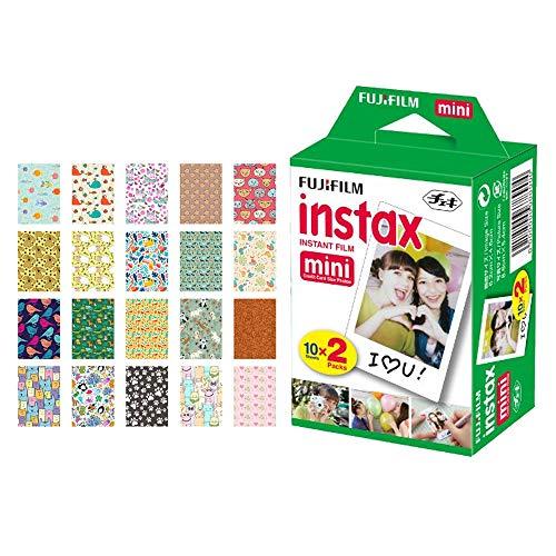 Fujifilm instax Mini Instant Film (20 Exposures) + 20 Sticker Frames for Fuji Instax Prints Animal Package