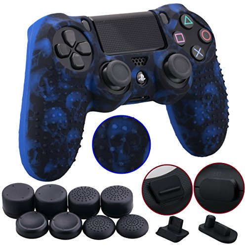 - 9CDeer 1 Piece of Silicone Studded Water Transfer Protective Sleeve Case Cover Skin + 8 Thumb Grips Analog Caps + 2 dust proof plugs for PS4/Slim/Pro Dualshock 4 Controller, Skull Blue