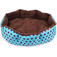 Bullidea Puppy Bed Oval Shape Dots Nesting Plush Pet Cat Dog Cave Dimple Soft with Removable Cushion,1pc