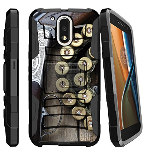 MINITURTLE Case Compatible w/ Motorola G4 Case, Moto G4 Plus Holster [Clip Armor] Exclusive Rugged Belt Clip Holster Case + Silicone Bumper + Stand Shell Shotgun w/ Ammo Armor Shotgun Case