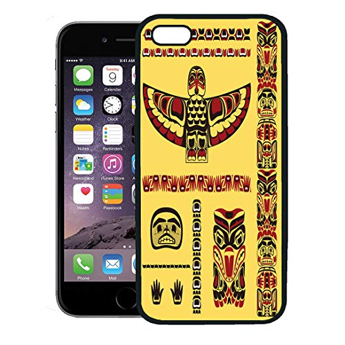 (Semtomn Phone Case for iPhone 8 Plus case,Red Totem Canadian Native in Yellow Pattern Canada Inuit Northwest iPhone 7 Plus case Cover,Black)